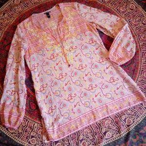 Lucky Brand Pink Bohemian Print Tunic